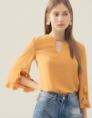 CHIAO Ruffle Long Sleeve Blouse