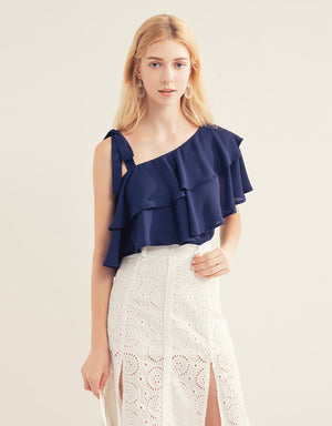 Double Ruffle One Shoulder Top