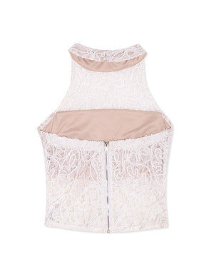 Round Neck Lace Halter Top