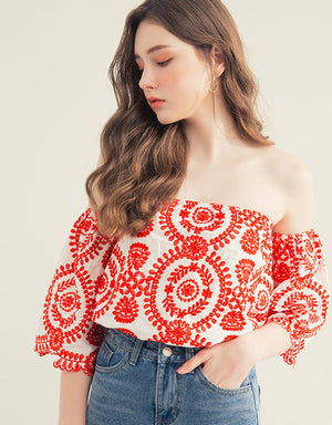 3/4 Sleeve Embroidery Tube Top