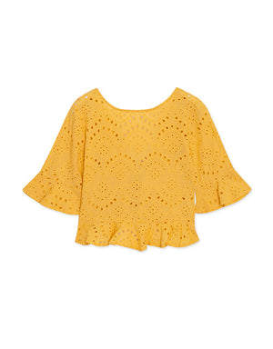 Ruffle Front Broderie Top