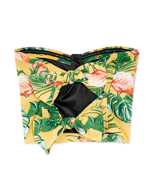 Tropical Floral Print Back Double Ribbons Tube Top