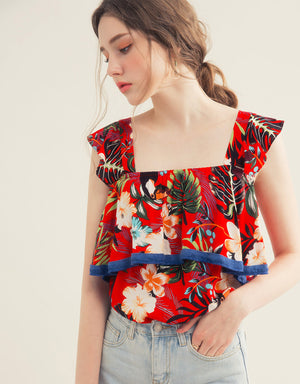 Floral Print Ruffle Layered Top