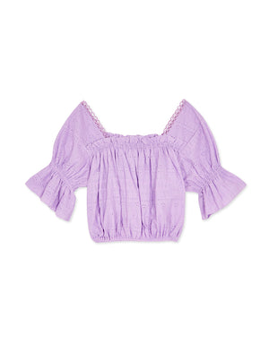 Square Neck Shirred Broderie Crop Top
