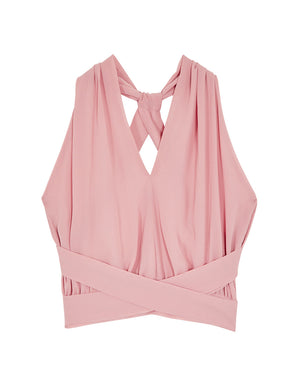 Cross Ribbon Chiffon Crop Top