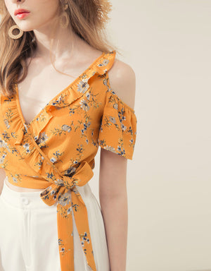 Cross Ruffle Neck Cold Shoulder Floral Top