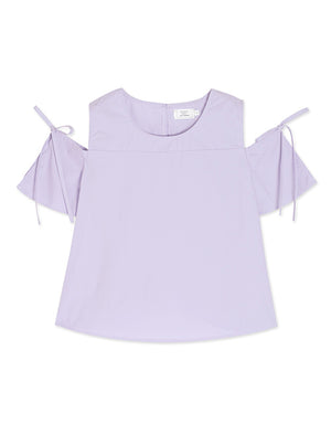 Drawstring Sleeve Cold Shoulder Top