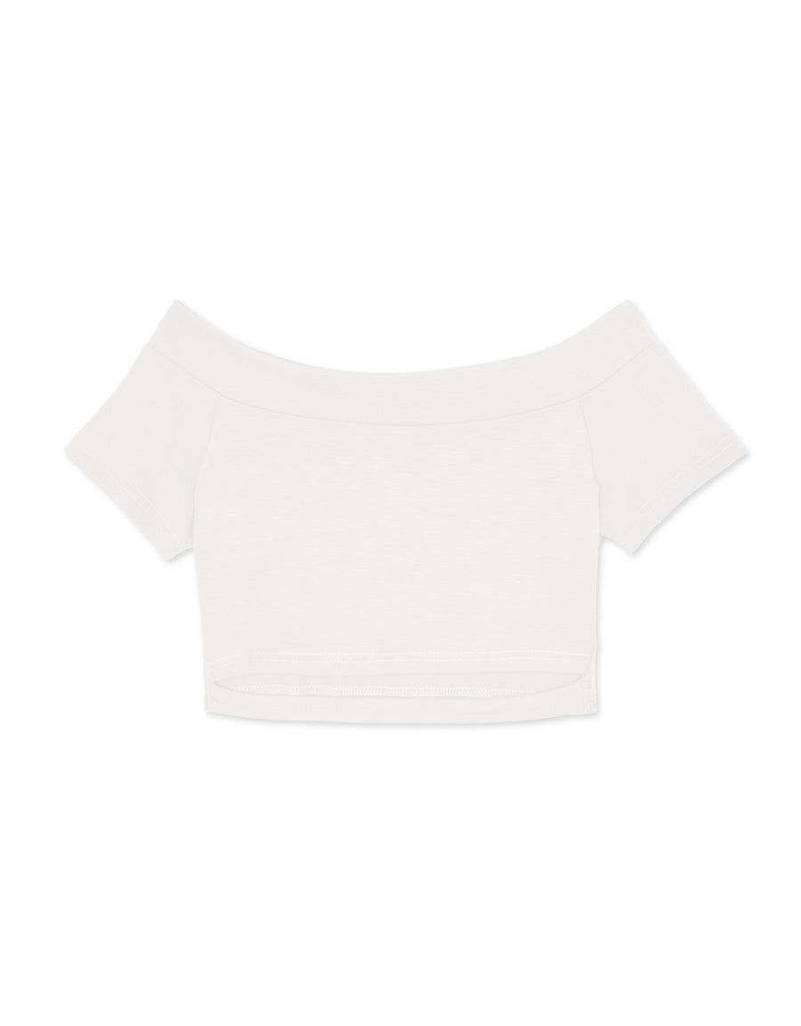Off Shoulder Hollow Crop Top
