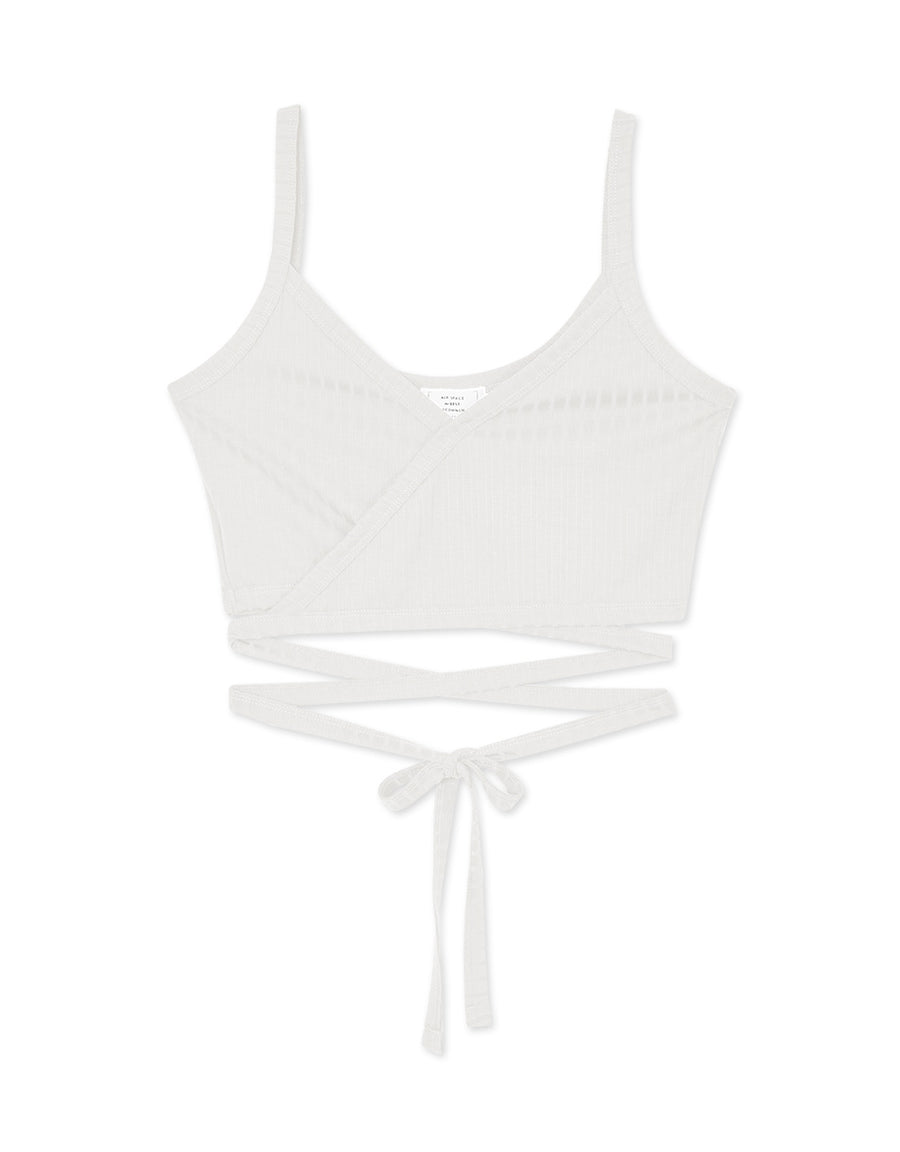 2WAY Ribbed Crop Camisole with Tie Back