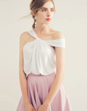 One Shoulder Twisted Cotton Top