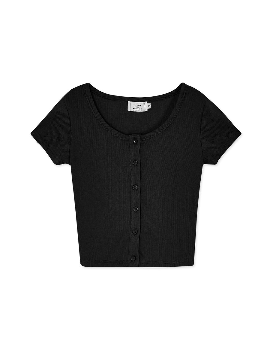 All-match Button Ribbed Top