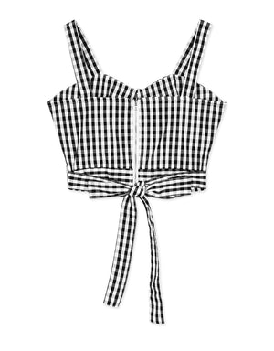 Button Plaid Bustier Top