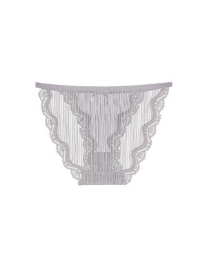 Lace Trim Striped Mesh String Panty