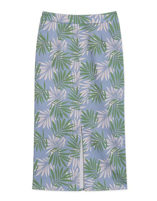 Printed Split Front Pencil Skirt