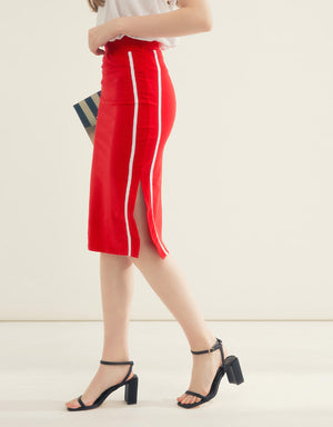 Cotton Fit Side Split Pencil Skirt