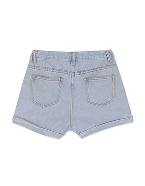 Asymmetrical Turn-up Denim Shorts