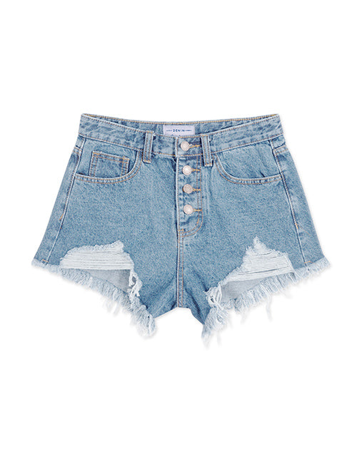 Distressed Button Denim Shorts