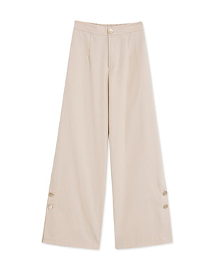 Metal Button Wide-leg Pants