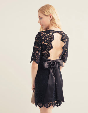 V Neck Open Back Lace Dress
