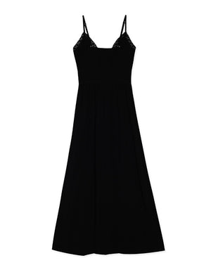 Deep V Cami Strap Cotton Maxi Dress