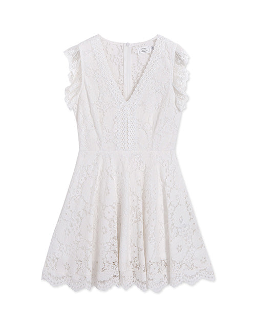 V Neck Lace Jacquard Flare Dress