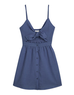 Cami Strap Ribbon Button Linen Mini Dress