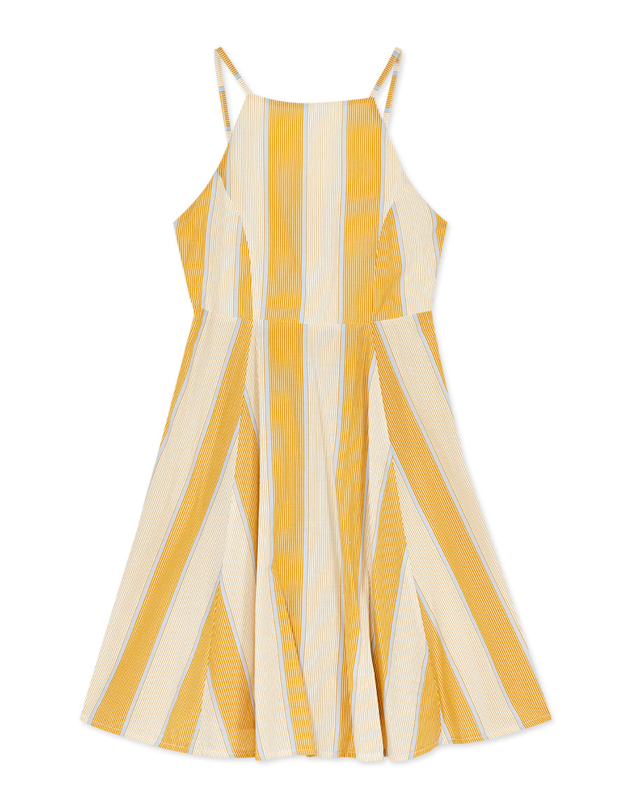 Cross Back Striped Halter Dress