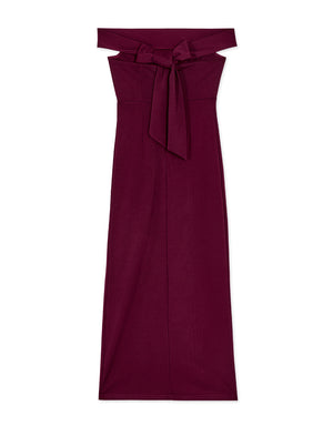 Elegant Off Shoulder Ribbon Maxi Dress