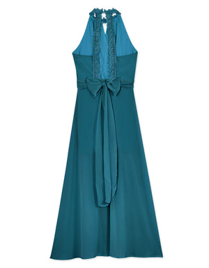 Crochet Lace Chiffon Maxi Dress