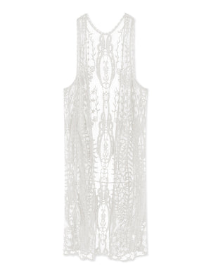 Broderie Sleeveless Long Cardigan