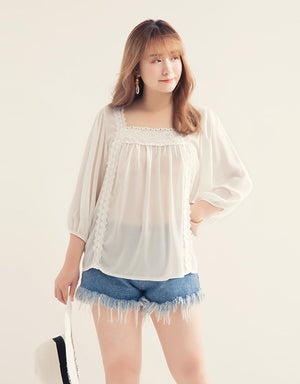 Square Neck Lace Splice Chiffon Top