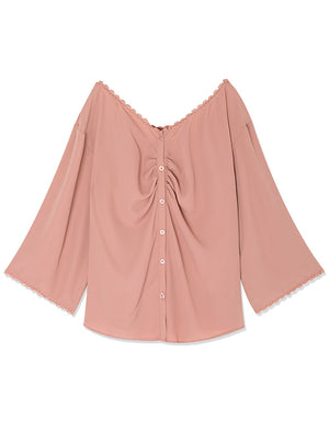 Lace Trim Button Through Chiffon Top