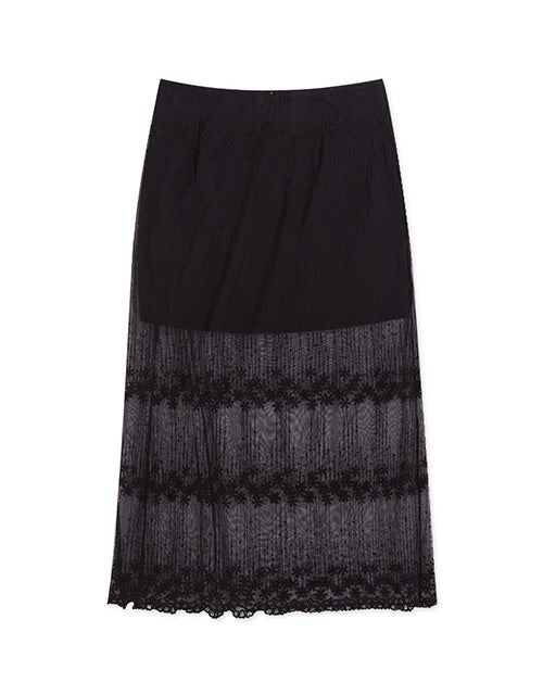 Lace Splice Long Skirt