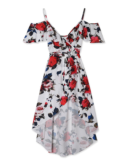 Ruffle Neck Floral High-low Wrap Dress
