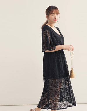 Flare Sleeve Lace Jacquard Wrap Dress