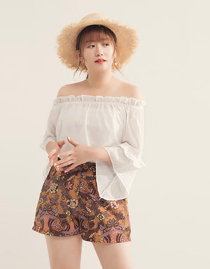 Fluted Sleeve Off Shoulder Ruffle Neck Stripe Top