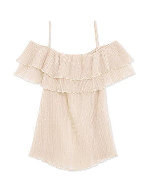 Off Shoulder Double Ruffle Strap Dotted Top
