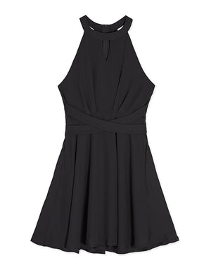 Cross Waist Halter Flare Dress