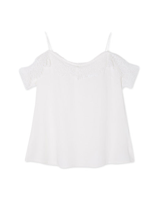 Eyelash Lace Cold Shoulder Cami Strap Top