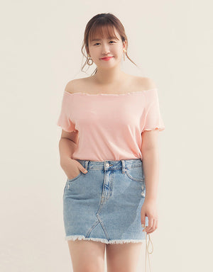 Off Shoulder Frill Hem Ribbed Top