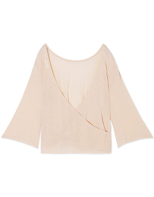 Open Back Transparent Long Sleeve Top