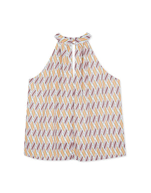 Turtle Neck Printed Halter Top