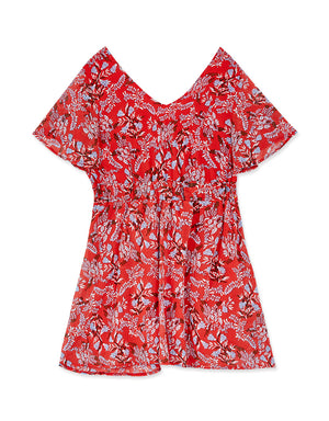 Knot Front Vintage Printed Dress