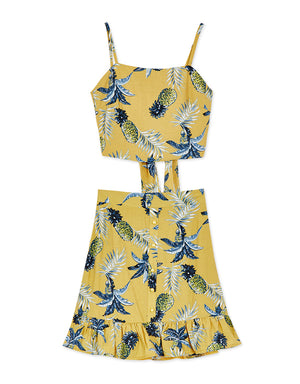 Pineapple Printed Set Wear with Tie Back