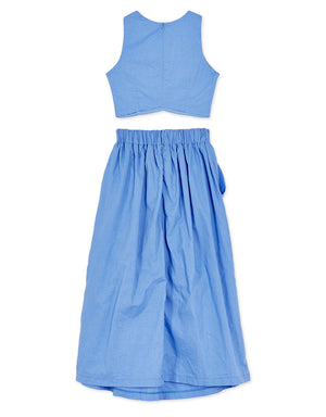 Solid Color Crop Top& Skirt Set Wear