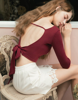 Hollow Back Ribbon 3/4 Sleeve Top