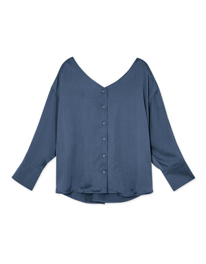 Twisted Back Button Silk Blouse
