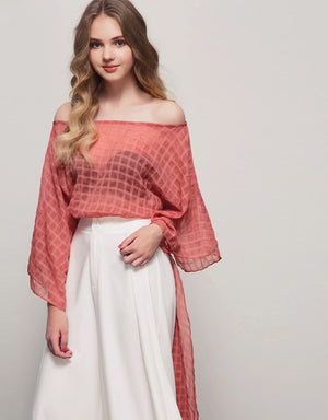 Off Shoulder Creased Plaid High-low Top