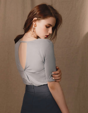 Hollow Back Stretch Cotton Top