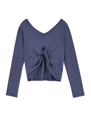 Twisted Creased V Neck Long Sleeve Top